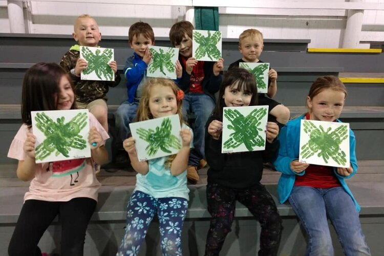 Cloverbuds - the youngest 4-Hers - show off projects they made before virtual 4-H meetings started in March 2020.