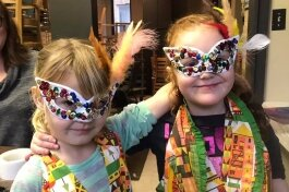On of the weekend $5 Art projects offered at Beyond the Looking Glass included designing handmade masks as a make and take.