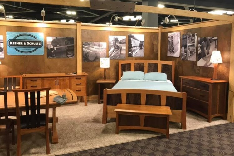 A display from one of the home design shows at which Keener & Schultz Fine Woodworks shows it's products.